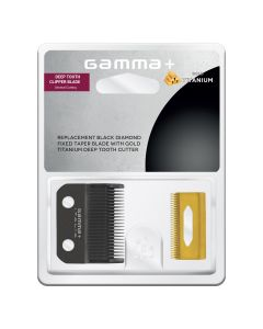 Clipper Blade with DLC Fixed Taper Blade and Deep Tooth Gold Titanium Cutter